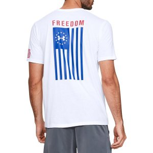アンダーアーマー Tシャツ トップス メンズ Under Armour Men's Freedom Flag T-Shirt White/Royal astyshop