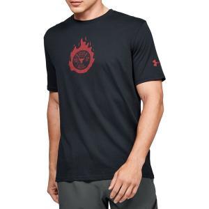 アンダーアーマー Tシャツ トップス メンズ Under Armour Men's Project Rock Stay Strong Graphic T-Shirt Black/VersaRed astyshop