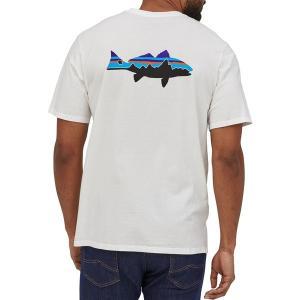 パタゴニア Tシャツ トップス メンズ Patagonia Men's Fitz Roy Fish Organic Cotton T-Shirt White/FitzRoyRedfish astyshop
