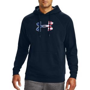 アンダーアーマー パーカー・スウェットシャツ アウター メンズ Under Armour Men's Freedom Rival Big Flag Logo Hoodie Academy/White|astyshop