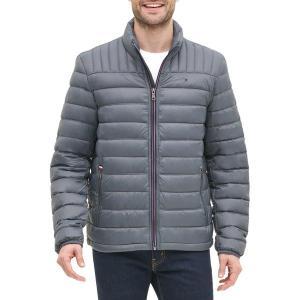 トミー ヒルフィガー ジャケット&ブルゾン アウター メンズ Tommy Hilfiger Men's Packable Logo Quilted Down Jacket Charcoal|astyshop