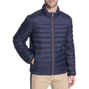 トミー ヒルフィガー ジャケット&ブルゾン アウター メンズ Tommy Hilfiger Men's Packable Logo Quilted Down Jacket Midnight|astyshop