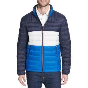 トミー ヒルフィガー ジャケット&ブルゾン アウター メンズ Tommy Hilfiger Men's Packable Logo Quilted Down Jacket Royal Blue Color Block|astyshop