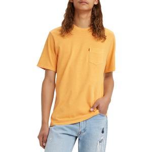 リーバイス Tシャツ トップス メンズ Levi's Men's Premium Sunset Pocket Graphic T-Shirt Kumquat|astyshop