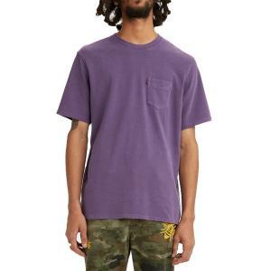 リーバイス シャツ トップス メンズ Levi's Men's Premium Sunset Pocket Graphic T-Shirt Loganberry Garment Dye|astyshop