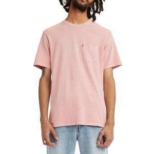 リーバイス シャツ トップス メンズ Levi's Men's Premium Sunset Pocket Graphic T-Shirt Powder Pink Garment Dye|astyshop