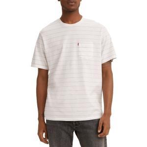 リーバイス シャツ トップス メンズ Levi's Men's Premium Sunset Pocket Graphic T-Shirt Dudleya Mrshmallow Stripe|astyshop