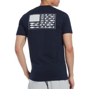 コロンビア Tシャツ トップス メンズ Columbia Men's PFG Americana Saltwater Fish Flag T-Shirt ColumbiaNavy astyshop