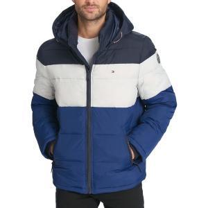 トミー ヒルフィガー ジャケット&ブルゾン アウター メンズ Tommy Hilfiger Men's Hooded Puffer Jacket Royal Blue Color Block|astyshop