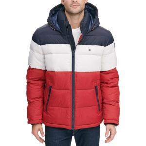 トミー ヒルフィガー ジャケット&ブルゾン アウター メンズ Tommy Hilfiger Men's Hooded Puffer Jacket Mdnght/Ice/Rd Color Block|astyshop