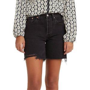 リーバイス カジュアルパンツ ボトムス レディース Levi's Women's 501 Original High-Rise Mid-Thigh Jeans Shorts Lunar Black|astyshop