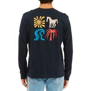 ビラボン シャツ トップス メンズ Billabong Men's Longsleeve Lands T-Shirt Indigo|astyshop