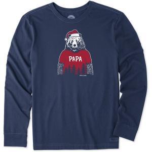 ライフイズグッド Tシャツ トップス メンズ Life is Good Men's Papa Santa Bear Crusher Long Sleeve T-Shirt DarkestBlue astyshop