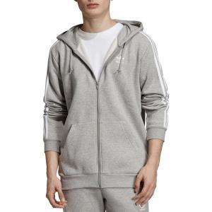 アディダス パーカー・スウェットシャツ アウター メンズ adidas Originals Men's 3-Stripes Full Zip Hoodie MediumGreyHeather|astyshop