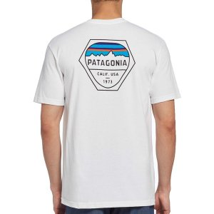 パタゴニア Tシャツ トップス メンズ Patagonia Men's Fitz Roy Hex Responsibili-Tee T-Shirt White astyshop