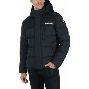 ハーレー ジャケット&ブルゾン アウター メンズ Hurley Men's Barrel Full-Zip Puffer Jacket Black astyshop