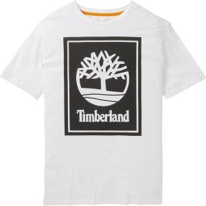ティンバーランド Tシャツ トップス メンズ Timberland Men's Stack Logo T-Shirt White/Black astyshop