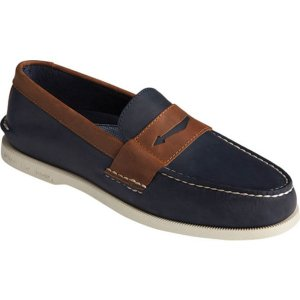 トップサイダー メンズ スリッポン・ローファー シューズ Authentic Original Penny Wild Horse Loafer Navy/Sonora Leather|astyshop