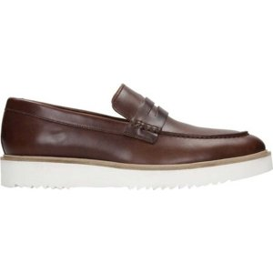 クラークス メンズ スリッポン・ローファー シューズ Ernest Free Penny Loafer Dark Tan Full Grain Leather|astyshop