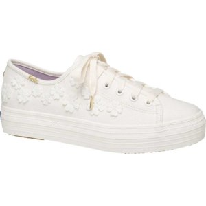 ケッズ レディース スニーカー シューズ Kate Spade Triple Kick Woven Flowers Sneaker White Canvas astyshop