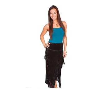 スカーリー レディース スカート ボトムス Long Suede Fringe Skirt L659 Black Boar Suede|astyshop