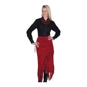 スカーリー レディース スカート ボトムス Long Suede Fringe Skirt L659 Red Boar Suede|astyshop