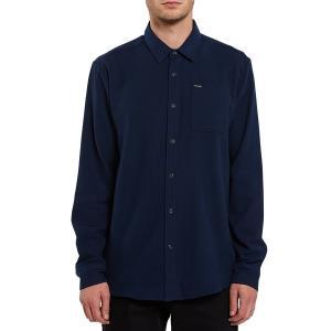 ボルコム メンズ シャツ トップス Volcom Caden Solid Long-Sleeve Flannel Navy|astyshop