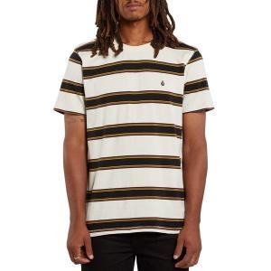 ボルコム メンズ Tシャツ トップス Volcom DA Fino Stripe Crew T-Shirt Primer White|astyshop