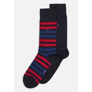 トミー ヒルフィガー 靴下 メンズ アンダーウェア MEN DUO STRIPE SOCK 2 PACK - Socks - blue/red|astyshop