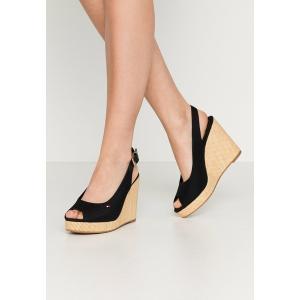トミー ヒルフィガー サンダル レディース シューズ ICONIC ELENA SLING BACK WEDGE - High heeled sandals - black|astyshop