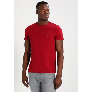 トミー ヒルフィガー Tシャツ メンズ トップス STRETCH SLIM FIT TEE - Print T-shirt - red|astyshop