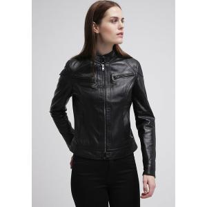 オークウッド コート レディース アウター LINA - Leather jacket - black astyshop