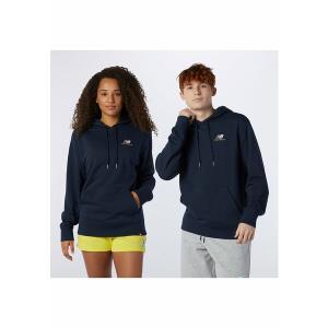 ニューバランス パーカー・スウェットシャツ メンズ アウター ESSENTIALS EMBROIDERED HOODIE - Sweatshirt - dark blue astyshop