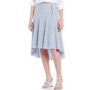 カルバンクライン レディース スカート ボトムス Seersucker Stripe Tiered Hi-Low Midi Skirt Blue/White Combo|astyshop