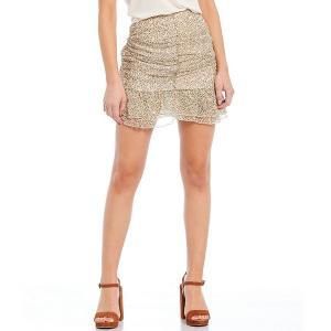 チェルシー&バイオレット レディース スカート ボトムス Ruched Ditsy Floral Ruffle Hem Skirt Golden Beige|astyshop