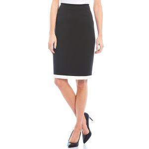 プレストンアンドヨーク レディース スカート ボトムス Lulu Contrast Hem Mid Rise Crepe Pencil Skirt Black/Ivory|astyshop