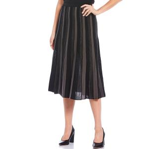 ミソーク レディース スカート ボトムス Pleated Midi Pull-On Skirt Black/Slate|astyshop