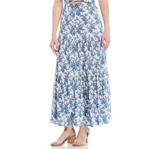 チェルシー&バイオレット レディース スカート ボトムス Printed Cotton Button Front Tiered Maxi Skirt French White|astyshop