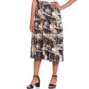 イントロ レディース スカート ボトムス Printed Challis Pull-On Hi-Low Midi Skirt Ebony Black|astyshop
