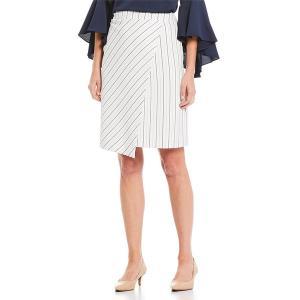 プレストンアンドヨーク レディース スカート ボトムス Rona Stripe Asymmetric Hem Pencil Skirt White/Navy|astyshop
