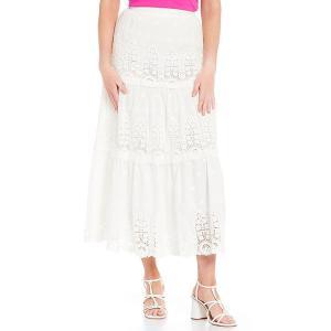 アントニオメラニー レディース スカート ボトムス Naomi Eyelet Tiered Cotton Maxi Skirt Ivory|astyshop