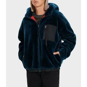 アグ メンズ パーカー・スウェットシャツ アウター Ugg Kairo Long-Sleeve Faux-Fur Reversible Hooded Jacket Deep Blue astyshop