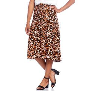 イントロ レディース スカート ボトムス Cheetah Print Challis Pull-On Hi-Low Midi Skirt Espresso Roast|astyshop