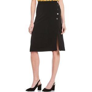 ティー・タハリ レディース スカート ボトムス Moss Crepe Metal Logo Snaps Detail Midi Wrap Skirt Black|astyshop
