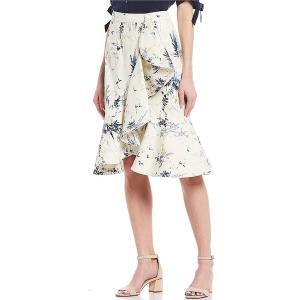 アントニオメラニー レディース スカート ボトムス Maria Floral Print Cotton Blend Sateen Faux-Wrap Side Ruffle Midi Skirt Ivory/Bay Blue|astyshop