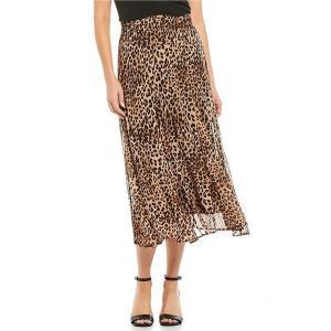 レバ レディース スカート ボトムス Mesh Smocked Waist Stretch Leopard Print Pleated Midi Skirt Animal Print|astyshop