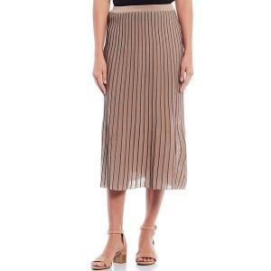 ミンウォン レディース スカート ボトムス Pleated Contrast Trim Midi A-Line Pull-On Skirt Java/Black|astyshop