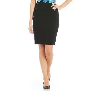 カルバンクライン レディース スカート ボトムス Luxe Stretch Suiting Side Zip Pocket Pencil Skirt Black|astyshop