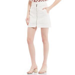 エーラブスエー レディース スカート ボトムス Denim Utility Pocket Zip Front Detail Mini Skirt Paper White|astyshop
