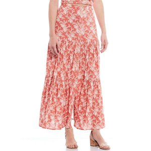 チェルシー&バイオレット レディース スカート ボトムス Printed Cotton Button Front Tiered Maxi Skirt Coral Melon|astyshop